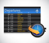 Departures table and watch — Stock Photo