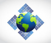 Globe solar panel illustration — Stock Photo