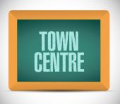 Town centre chalkboard sign — Stock Photo