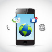 Contact us phone and icons illustration — Stock Photo