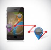 Phone gps and locations illustration — Stock Photo