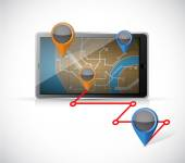 Tablet gps and locations illustration — Stock Photo