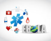 Medical icons and ebola sign — Stock Photo