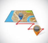Gps map and locations illustration design — Stock Photo