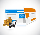 Websites templates and coins illustration — Stock Photo