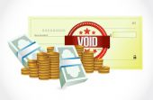 Void bank check and money illustration — Stock Photo