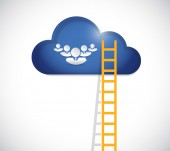 Ladder to team cloud illustration design — Stock Photo