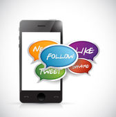Smartphone social media communication illustration — Zdjęcie stockowe
