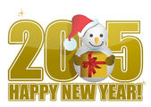 2015 happy new year snowman sign — Stock Photo