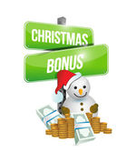Christmas bonus sign and snowman — Stock Photo