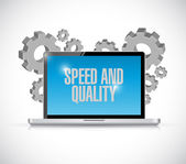 Speed and quality laptop illustration — Stock fotografie
