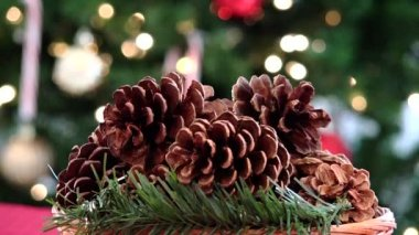 Pines christmas centerpiece decor and tree — Stock Video