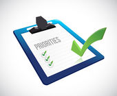 Priorities clipboard checklist illustration — Stock Photo