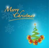 Merry christmas tree card illustration — Stock Photo