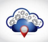 Cloud computing locator connection. — Stock Photo