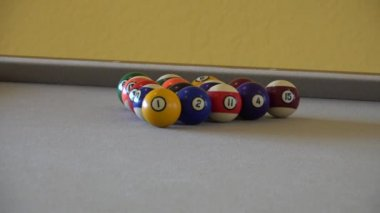 HD clip of a billiard ball triangle during the break shot — Stok video