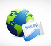 Direct mail globe illustration design — Stock Photo