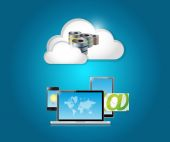 Technology electronics and cloud — Stock Photo