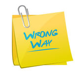 Wrong way memo post sign illustration — Stock Photo