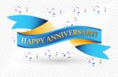Happy anniversary blue ribbon illustration — Stock Photo