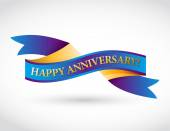 Multicolor happy anniversary ribbon — Stock Photo