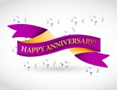 Purple happy anniversary ribbon — Stock Photo