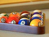 Billiard balls in a pool table — Stock Photo