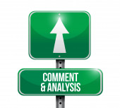 Comment and analysis road sign — Stock Photo