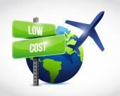 Low cost travel globe illustration design — Stock Photo