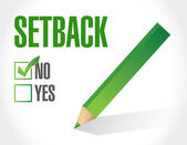 No to a setback. check list illustration design — Stock Photo
