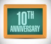 10th anniversary board sign illustration design — Stock Photo
