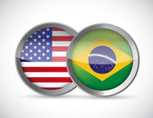 Usa and brazil union seals illustration design — Stock Photo