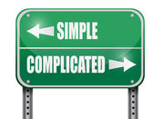 Simple versus complicated road sign illustration — Stock Photo