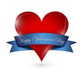 Happy valentines day heart and ribbon illustration — Stock Photo