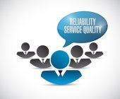 Reliability, service, quality people sign — Stock Photo