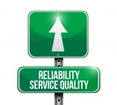 Reliability service quality road sign — Stock Photo