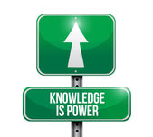 Knowledge is power road sign illustration design — Stock Photo