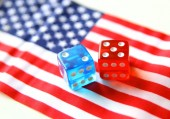 Bet on america. flag and dices concept — Stock Photo