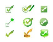 Approve check marks icon set illustration design — Stock Photo