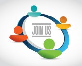 Join us people network diagram sign concept — Stockfoto