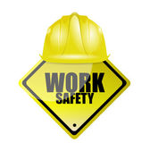 Work safety helmet and sign concept — Foto de Stock
