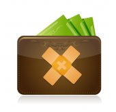 Wallet and money band aid fix solution concept — Stock Photo