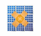 Solar panel band aid fix solution concept — Stockfoto