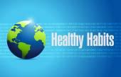 Healthy habits globe sign concept — Stock Photo