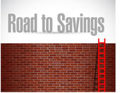 Road to savings ladder sign illustration — Stock Photo