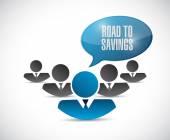 Road to savings business teamwork sign — Stock Photo