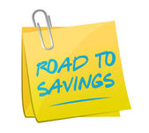 Road to savings post memo sign — Stock Photo