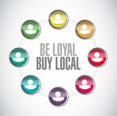 Be loyal buy local people diagram sign — Stock Photo