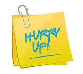 Hurry up memo post sign illustration — Stock fotografie