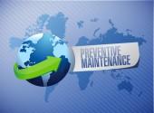 Preventive maintenance globe sign concept — Stock Photo